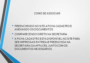 Associe-se documentos necessários
